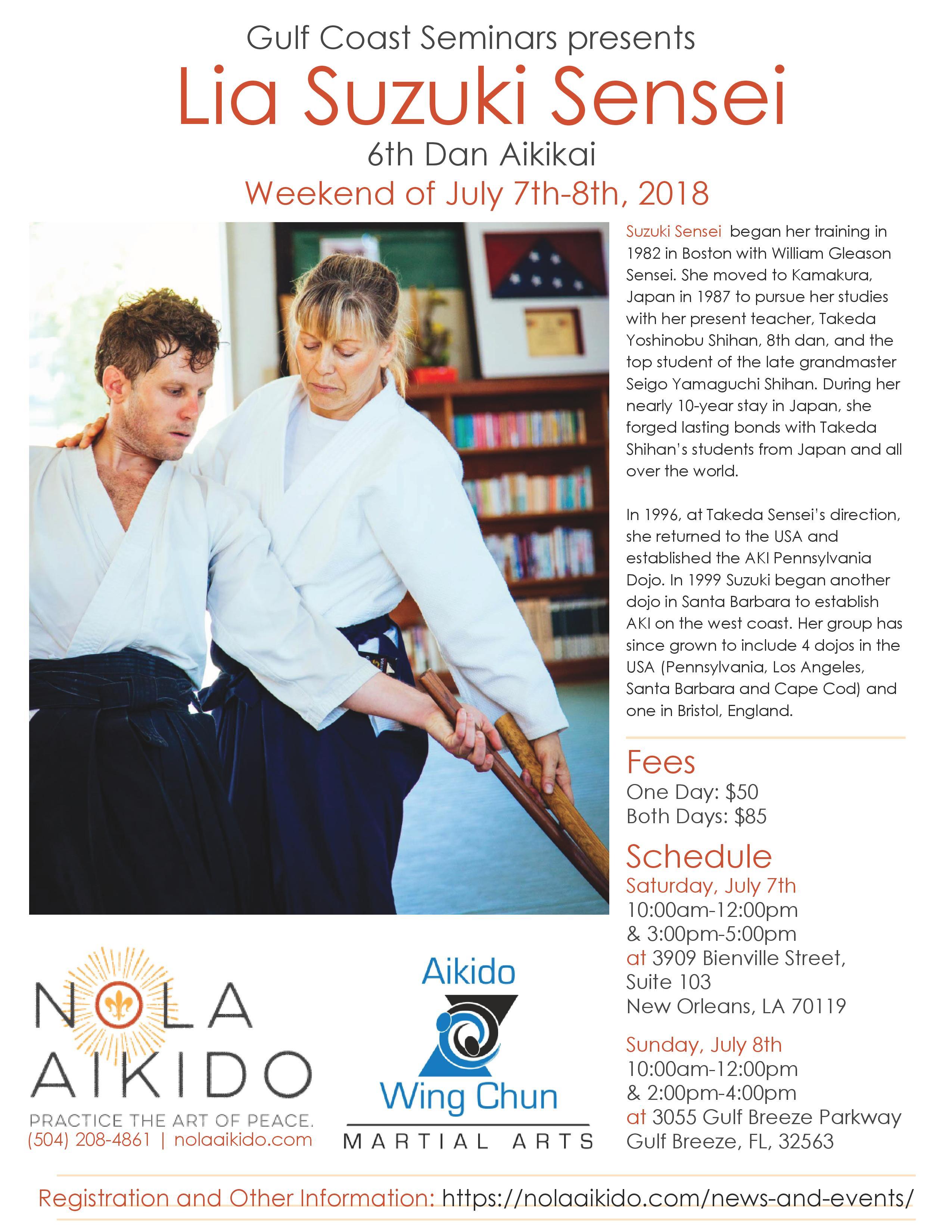 Lia Suzuki Sensei Seminars at NOLA Aikido and Gulf Breeze